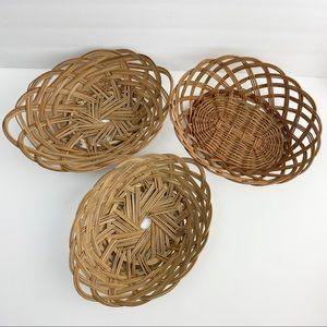 Set of 3 VTG Baskets Boho Basket Wall Home Decor